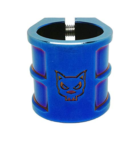 Team Dogz 35mm Oversized Double Stack Scooter Clamp in Neochrome. Suitable for HIC & ICS Compression (Blue) (Team Double Clamp)