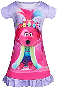 KISSI Trolls Nightgowns for Girls Toddler Bedding Shirts Princess Pajamas Short Sleeve Poppy Home Wearing 3-8Y