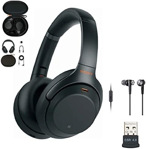 Sony WH-1000XM3 Wireless Noise-Canceling Over-Ear Headphones Black, USA Warranty with Sony Extra BASS Earbuds Black and USB Bluetooth Adapter Bundle