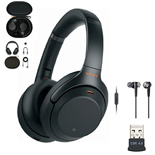 Sony WH-1000XM3 Wireless Noise-Canceling Over-Ear Headphones (Black, USA Warranty) with Sony Extra BASS Earbuds (Black) and USB Bluetooth Adapter Bundle