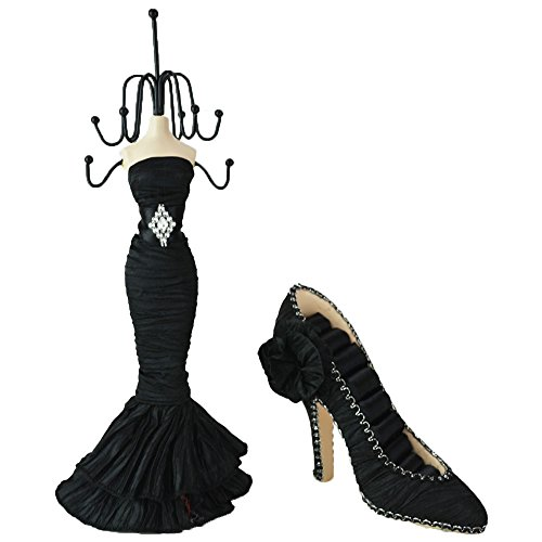 2pc Display Holder Mannequin Elegant Dress Jewelry and Shoe for Rings (Black)