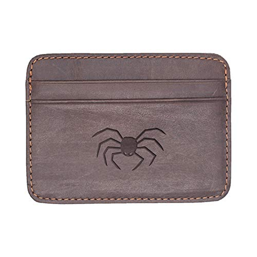 Halloween Pumpkin (Milk Chocolate) Engraved Synthetic Slim Wallet/Card Holder - Handcrafted By Mastercraftsmen - A Perfect Fit For The Minimalist Lifestyle - Sleek, Efficient ()