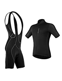 Dolity Men's Pro Racing Cycling Team Clothing Set,MTB Bike Bicycle Cycling Short Sleeve Jersey and Padded Bib Shorts Set Suit