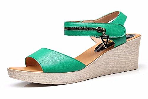 Cuadro Fondo Impermeable Pretty de Y Cm KPHY Sandalias Verde Alto de Grueso Verano Cuatro Tacon Mujer De Muffin Cuero 8 Tacon De Zapatos Sandalias De De Pendiente Treinta qTxwAHx