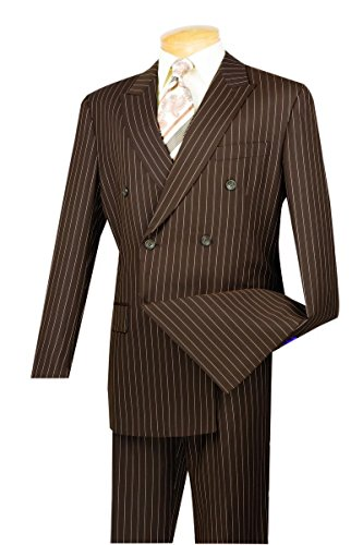 Vinci 6 Button Double Breasted Gangster Stripe Suit DSS-4-Brown-48R