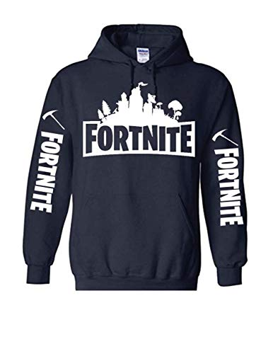 TheTshack Fortnite Heroes 8 Black Kids Hoodie Fortnite Game (X-Large 14/16 Yrs, Navy Blue)
