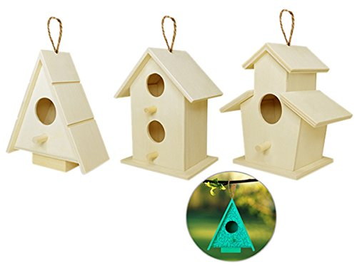 Arts and Crafts Wood Decor Natural Unfinished Wood Birdhouse with Jute Cord to Hang, Set of -