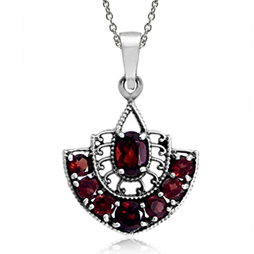 1.97ct. Natural Garnet 925 Sterling Silver Filigree Pendant w/ 18 Inch Chain Necklace