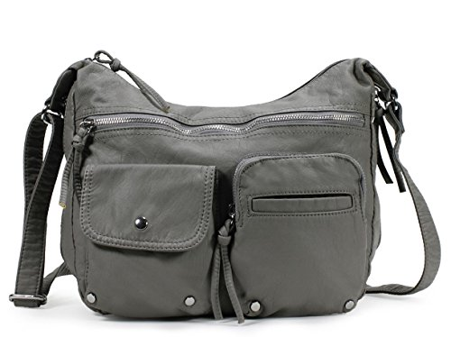 Amazon Lightning Deal 58% claimed: Scarleton Soft Washed Multi Zip Crossbody Bag H1800