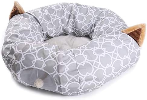 Cat Dog Tunnel Bed with Cushion Tube Toys Plush Large Diameter Longer Crinkle Collapsible 3 Way for Large Cats Kittens Kitty Small Puppy Outdoor 6FT 4