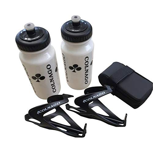 High End Bike Discount Colnago Bicycle Accessories Combo of 2 Water Bottles, 2 Air Water Bottle Cages and a Bicycle Saddle Bag 2 White Water Bottles, 2 Black Water Bottle Cages and a Black Saddle Bag