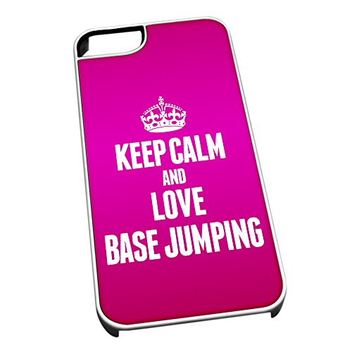 Bianco cover per iPhone 5/5S 1687 Pink Keep Calm and Love base Jumping