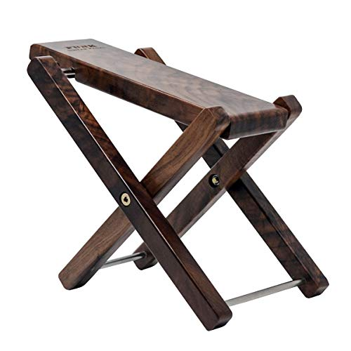 Wood Guitar Footstool Mahogany Solid Wood Footrest 3-Level Adjustable Height Folding Widen Guitar Pedal