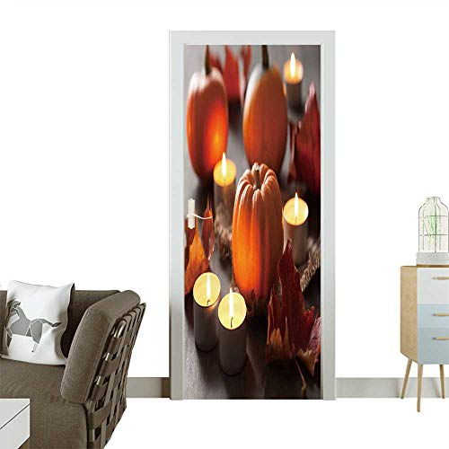 Door Sticker Wall Decals Decorative Halloween Pumpkins and Candles Easy to Peel and Stick W32 x H80 INCH