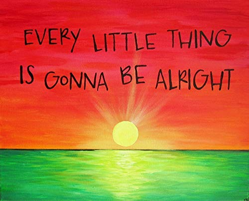 8x10 Art Print Rasta Color Sunset Every Little Thing Is Gonna Be Alright Song Lyric Art Print