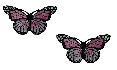 (2 pieces Light Pink BUTTERFLY Iron On Patch Embroidered Applique Motif Fabric Children Decal 3 x 1.7 inches (7.5 x 4.3 cm))