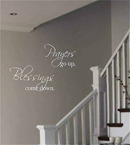 ynisan Wall Stickers Art DIY Removable Mural Room Decor Mural Vinyl Prayers Go Up Blessings Come Down for Living Room Bedroom
