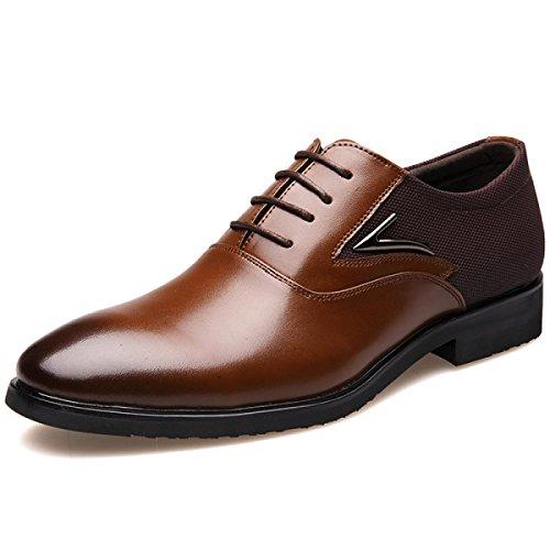 GRRONG Zapatos De Cuero Genuino De Los Hombres De Negocios Traje De Etiqueta De Piel En Punta Negro Marrón Brown