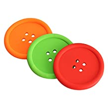 TTnight Silicone Round Cute Button Placemat Heatproof Cup Mat Coaster (Random Color)
