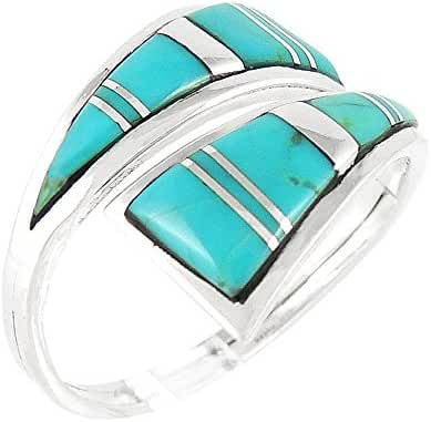 925 Sterling Silver Ring with Genuine Turquoise Size 5 to 12