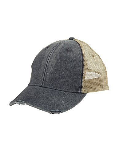 Adams mens 6-Panel Pigment-Dyed Distressed Trucker Cap(OL102)-BLACK/ TAN-OS