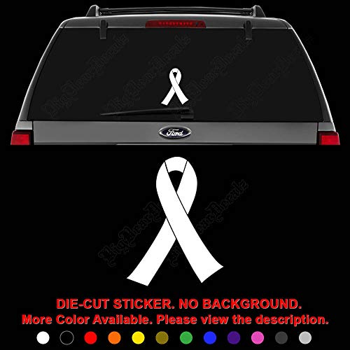 Pink Ribbon Breast Cancer Sign Symbol Die Cut Vinyl Decal Sticker for Car Truck Motorcycle Vehicle Window Bumper Wall Decor Laptop Helmet Size- [6 inch] / [15 cm] Wide || Color- Gloss Black ()