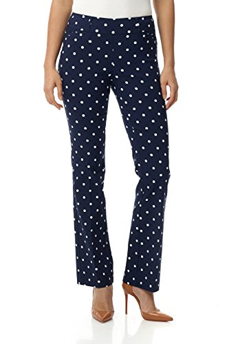 Rekucci Women's Ease in to Comfort Fit Barely Bootcut Stretch Pants (18,Navy/Ivory Dot)