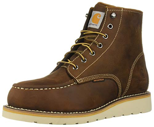 (Carhartt Men's 6 Inch Waterproof Wedge Steel Toe Industrial Boot, Tan Oil Tanned Leather, 15 W US)