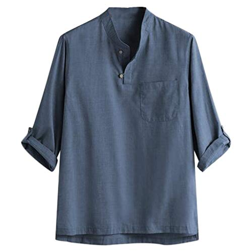 Luca Mens Solid Vintage Hippie 3/4 Sleeve V Neck Linen Shirts Summer Yoga Tops Blue ()