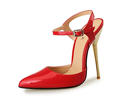 red Appuntito 49 Tribunale Vestito Festa 40 eur46 Fibbie Del Sandali Taglia Piede uk14 Caviglia Pompe Alto Donna Scarpe Dito Tacchi Cinghia Per HFwqBB