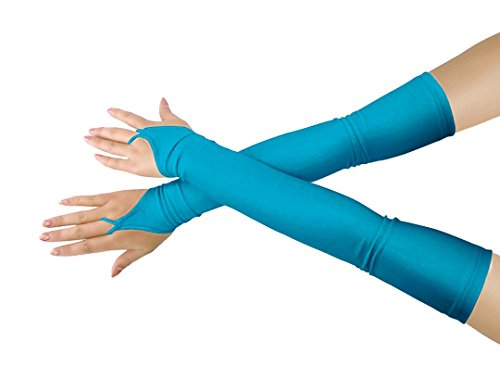 Women's Sunscream Stretchy Lycra Fingerless Over Elbow Cosplay Catsuit Opera Long Gloves (blue) (Quick Delivery Costumes)
