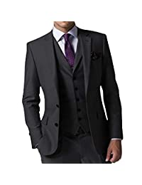 JY Men's Modern Fit 3-Piece Wedding Suits Grey Notch Lapel Blazer Groom Tuxedos