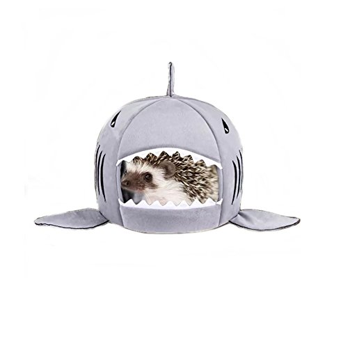 Stock Show Small Animal House Cute Shark Baby Guinea Pig Hamster Bed House Hammock Winter Warm Squirrel Hedgehog Chinchilla House Cage Nest Bed Hamster Accessories, Grey