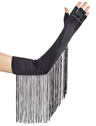 BABEYOND Vintage Fringe Fingerless Gloves Long Elbow Gloves