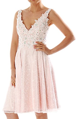 MACloth Women Straps V neck Short Lace Cocktail Party Dress Formal Evening Gown (EU34, Rosa)