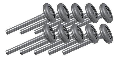 Ideal Security SK7171 Steel Garage Door Rollers 2 inch Wheels with 10 Ball-Bearings, 4 inch stem, Pack, ()
