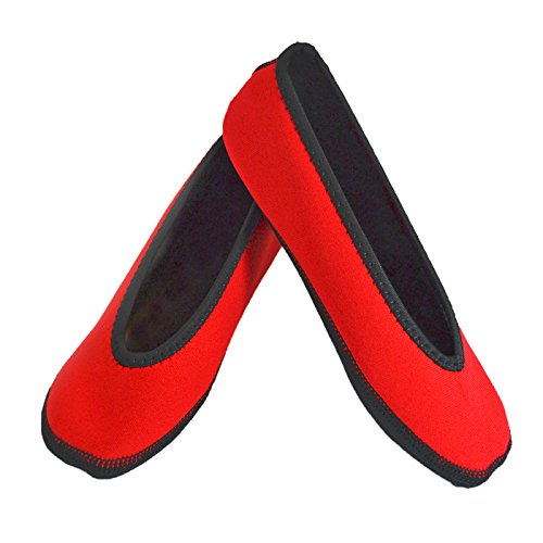 NuFoot-Ballet-Flats-Womens-Shoes-Best-Foldable-Flexible-Flats-Slipper-Socks-Travel-Slippers-Exercise-Shoes-Dance-Shoes-Yoga-Socks-House-Shoes-Indoor-Slippers-Red-Small
