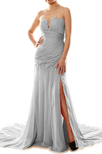 Mermaid Macloth Evening Prom Long Chiffon Ball Dress Formal Silber Women Party Gown