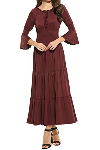 [Meaneor Women's 3/4 Bell Sleeve Elastic Waist Tiered Renaissance Pleated Maxi Dress Wine Red XXL] (Renaissance Style Dress)