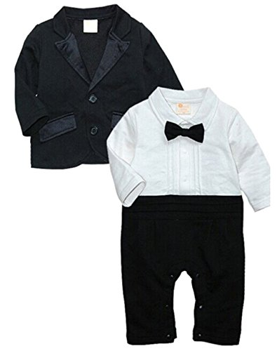 EGELEXY Baby Boys Tuxedo Wedding Romper and Jacket Formal Wear Suit 12-18months Black