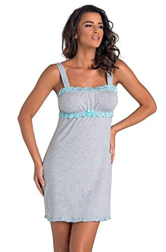 Turchese una Grigio confezione negligé notte regalo viscosa fantastica scollatura Donna da camicia in splendida Principesca in con PwxqnHaZ