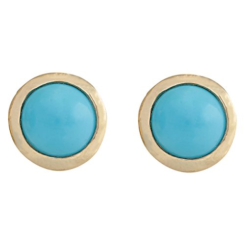 3 Carat Natural Blue Turquoise 14K Yellow Gold Solitaire Stud Earrings for Women Exclusively Handcrafted in USA (Rose Gold Turquoise Earrings)