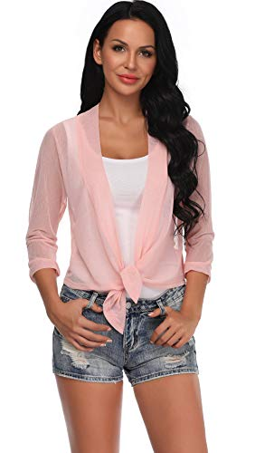 dba554f351d Aranmei Womens Sheer Shrug Cardigan Tie Front 3 4 Sleeve Bolero Jacket(Pink