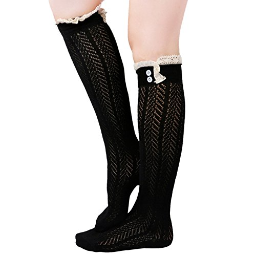 Tirain Knee High Button Crochet Boot Socks with Lace Trim Soft Knit Leg Warmer (Black) (Girls Knee High Rain Boots compare prices)
