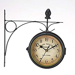 WICHEMI Retro Wall Clock Double-Sided European Antique Style Creative Classic Wall Hanging Clocks Outdoor Living Room Bedroom Study Wall Decoration
