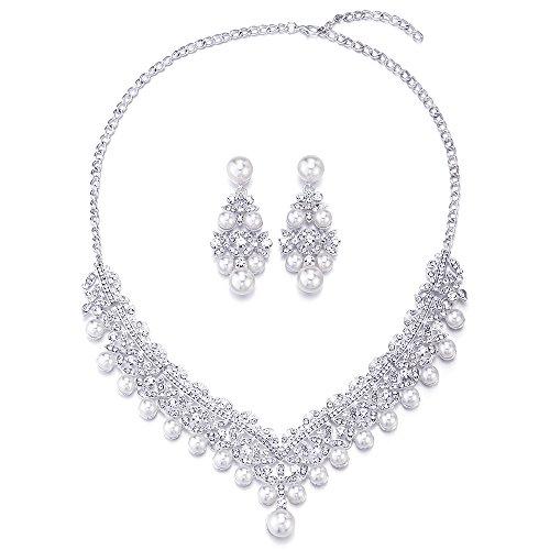 COOLSTEELANDBEYOND Rhinestones Simulated Pearl Flower Petal Filigree Teardrop Necklace Earrings Wedding Set for Brides
