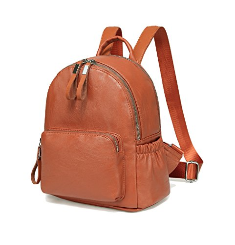 Mini Backpack Purse,Vaschy Faux Leather Small Backpack for Women and Girls (Brown) by VASCHY