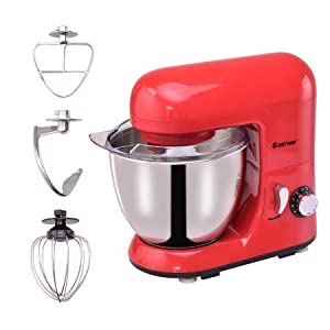 Goplus 6 Speed 4.3Qt 550W Electric Food Stand Mixer Tilt-Head Stainless Steel Bowl