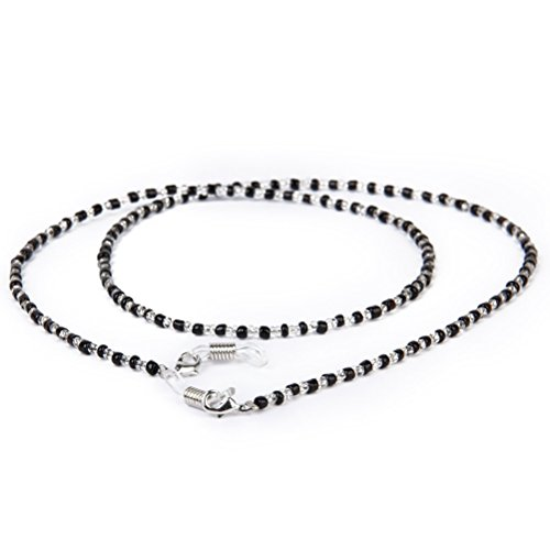 OULII 60cm Long Fashion Crystal Beads Beaded Glasses Eyeglasses Sunglass Spectacles Chain Holder Neckchain (Black+Clear)