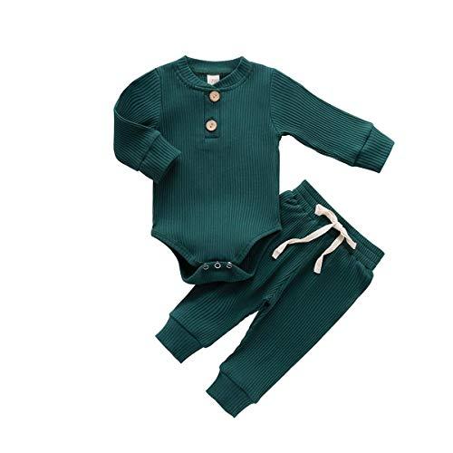 Pasgeboren Baby Jongens Meisjes Pyjama Outfits Effen Lange Mouw Romper Broek 2 stks Unisex Baby Herfst Winter Kleding
